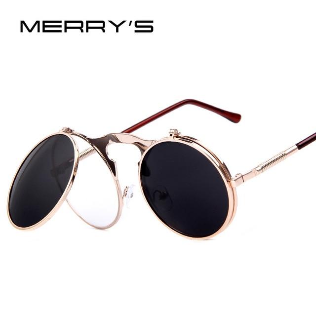 42a72175a MERRY S Mulheres Revestimento de Óculos De Sol redondos STEAMPUNK Estilista  do punk do vapor de Metal