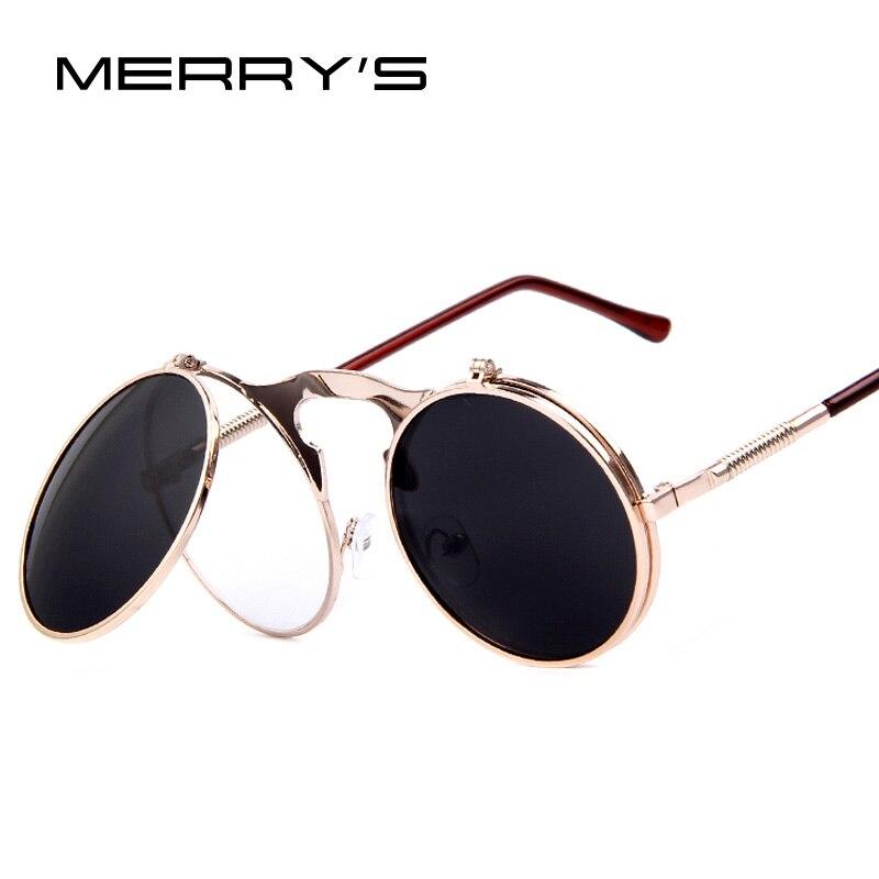 MERRY'S VINTAGE STEAMPUNK Lunettes De Soleil rondes Designer punk de vapeur de Métal Femmes Revêtement lunettes de Soleil Rétro CERCLE LUNETTES de SOLEIL