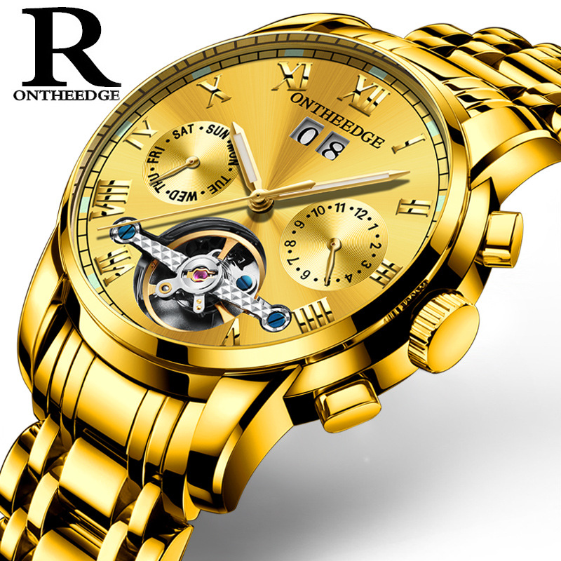 лучшая цена Multifunction mens watches Mechanical automatic business men wristwatches luxury gold man stainless steel Tourbillon watchband