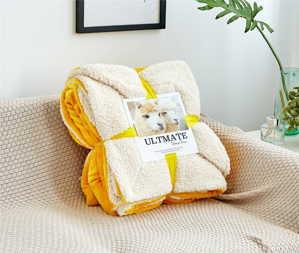Fashion Nordic Warm Thick Fleece Sherpa Blanket Throw on Sofa Bed Plane Travel Plaids Soft Fluffy Warm Cobertor Home Textile-in Blankets from Home & Garden    1