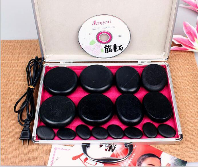 Quality 16 pcs cold hot hot spa oil with thermostat heater volcanic Energy massage stone