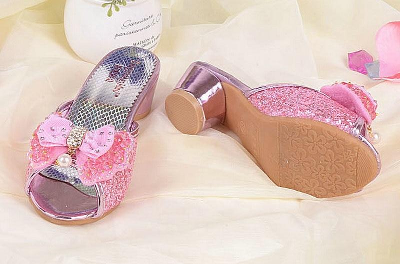 Luxe Zomer Kinder Kinder Meisjes Prinses Slippers Hoge hakken Lederen - Kinderschoenen - Foto 1