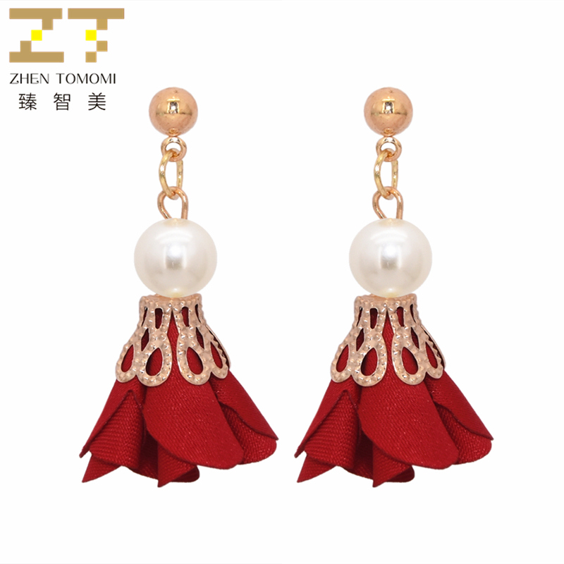 2019 New Arrivals Women's Hottest Fashion Metal Ball Earrings Simulated Pearl Cloth Art Flowers Drop Earrings For Women Jewelry