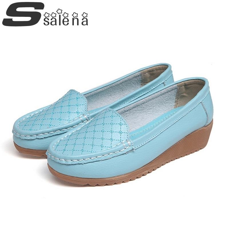 ФОТО Women Flats Leather Single Shoes Ballet Women Shoes Woman 2016 New Arrival Slip On Loafers Spring Autumn Size 35-40 #C417