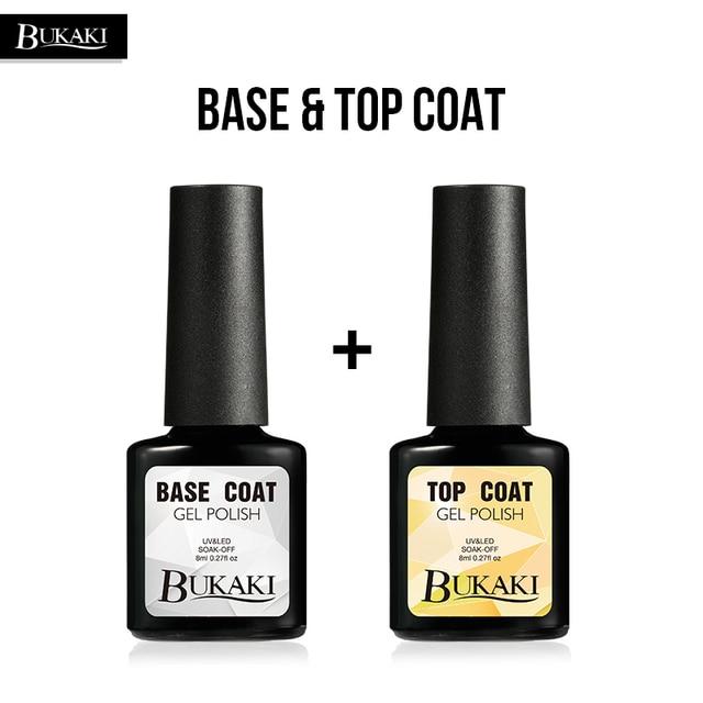 BUKAKI Gel Polish Top Base Coat Set LED UV Soak-off Base + Top Coat Gel Nail Varnish Semi permanent Nail Gel Lacquer