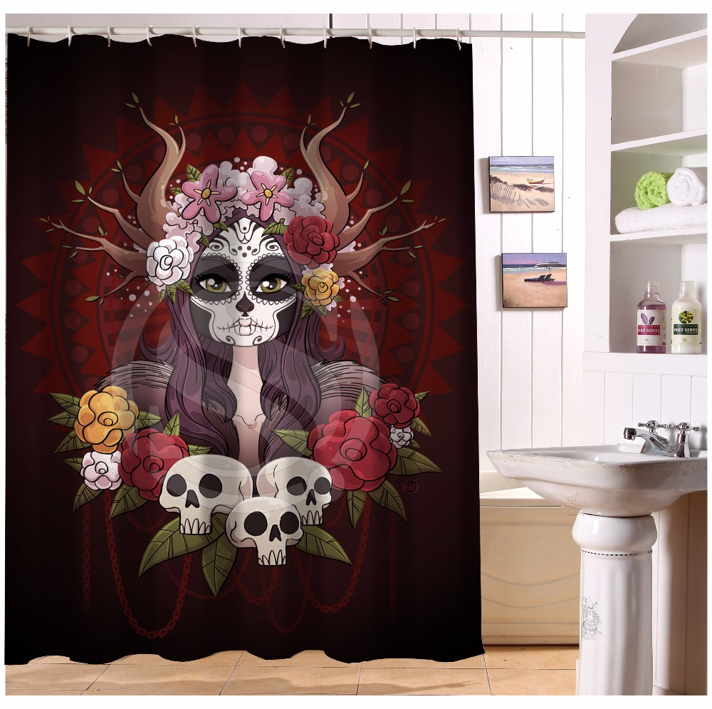 Top kids pirate shower curtain pirate bathroom decor kids pirate - U419 71 Custom Home Decor Cool Pirate And Skull Fabric Modern Shower Curtain European Style Bathroom Waterproof Wjy1