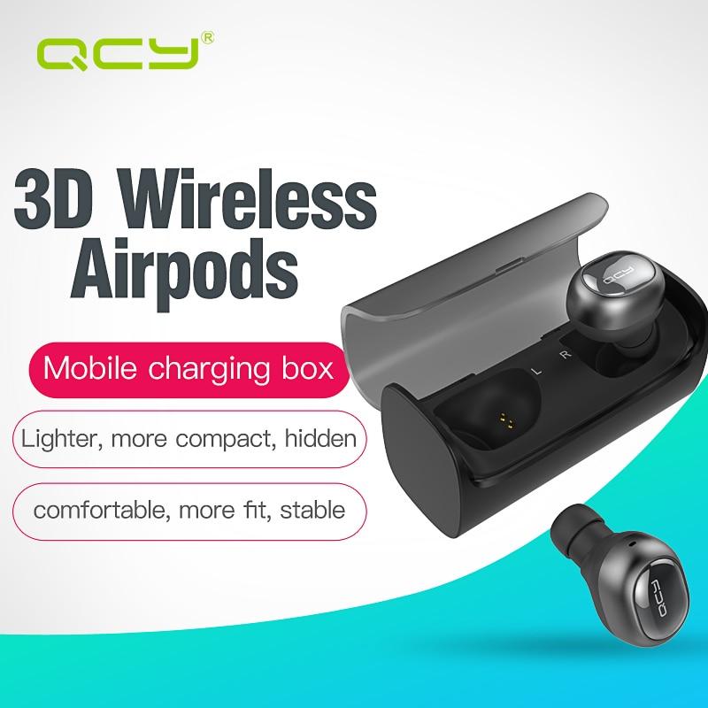 bilder für QCY Q29 business kopfhörer drahtlose bluetooth earbuds 3D stereo airpods headsets mit lade automatisch energienbank für handys