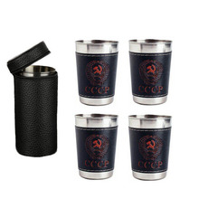 4pcs 170ml Outdoor Travel Cups Set Camping Tableware Stainless Steel Cup with PU Leather Portable Coffee Wine Beer Whisky