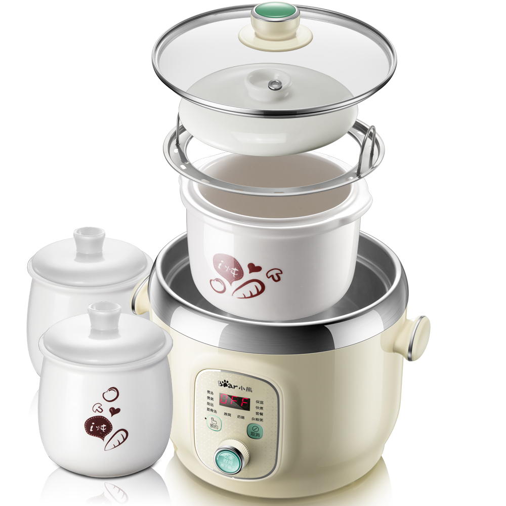 220V Intelligent Automatic Electric Stewing Pot Cooker With 3 Pots Electric Stew Cooking Machine Porridge Soup EU/AU/UK/US Plug 220v household electric slow stewing pot machine baby porridge food maker automatic ceramic inner stewing cooker eu au uk