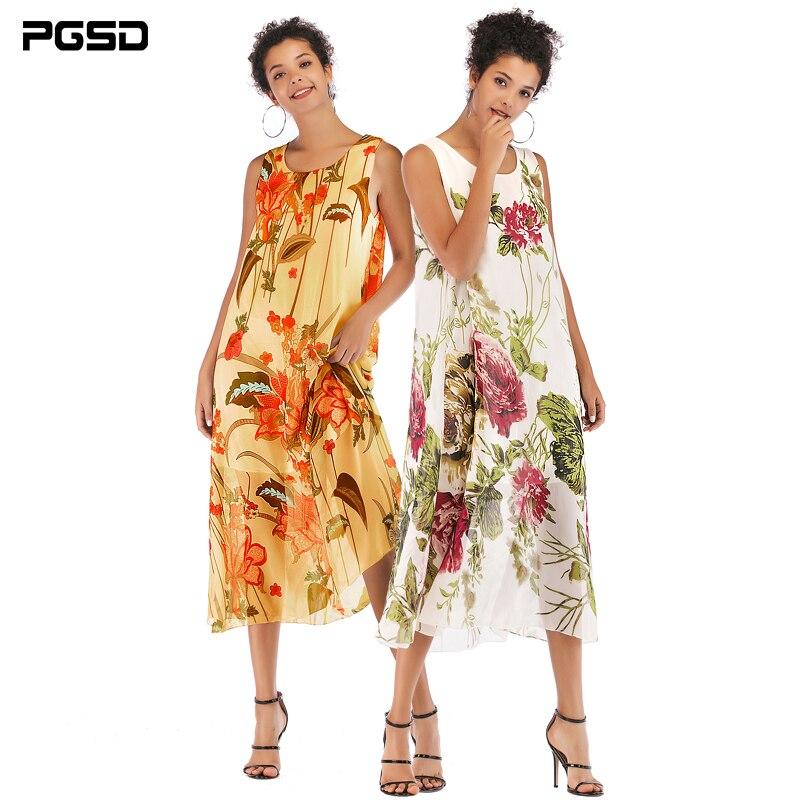 PGSD 2019 Summer Fashion women clothes Sleeveless Round-collar Flower plant Printing elegant Chiffon Beach Loose Vest Dress Girl