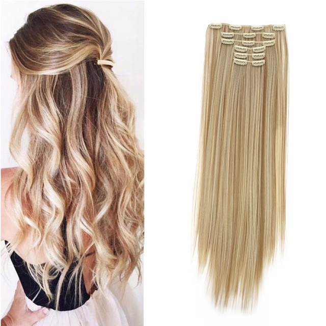 Aosiwig 6pcs Long 24 Inches Striaght Real Thick Full Head Clip In On