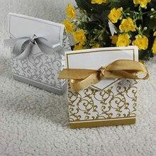 50/100 шт Бумага коробка для конфет с золотой ленточка на свадебные подарки для гостей, хороший подарок на день рождения, вечерние украшения подарочная упаковка мешки