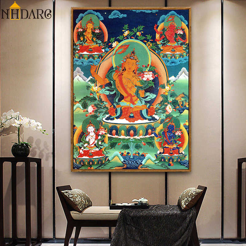 Thangka Five Manjusri Buddha Painting Tibetan India Chinese Religion Canvas Print Painting Poster Art Wall Picture Home Decor
