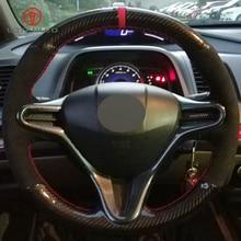 Lqtenleo Черный углеродного волокна Черная замша DIY чехол рулевого колеса автомобиля для Honda Civic 8 2006-2009 Old Civic 2004-2011(3-спица