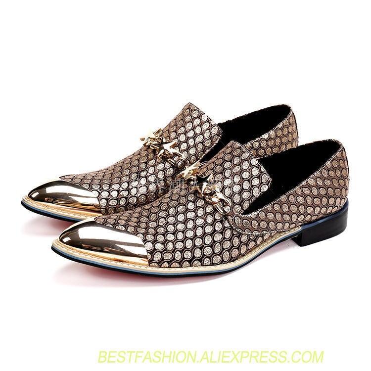 Новые британские мужские деловые повседневные модные оксфорды из металла с острым носком пряжками обувь черный/золото вечерние туфли на пл