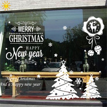 Christmas Wall Sticker White Deer Bells Festivals Christmas Decorations For Home Shopwindow Christmas Window Sticker