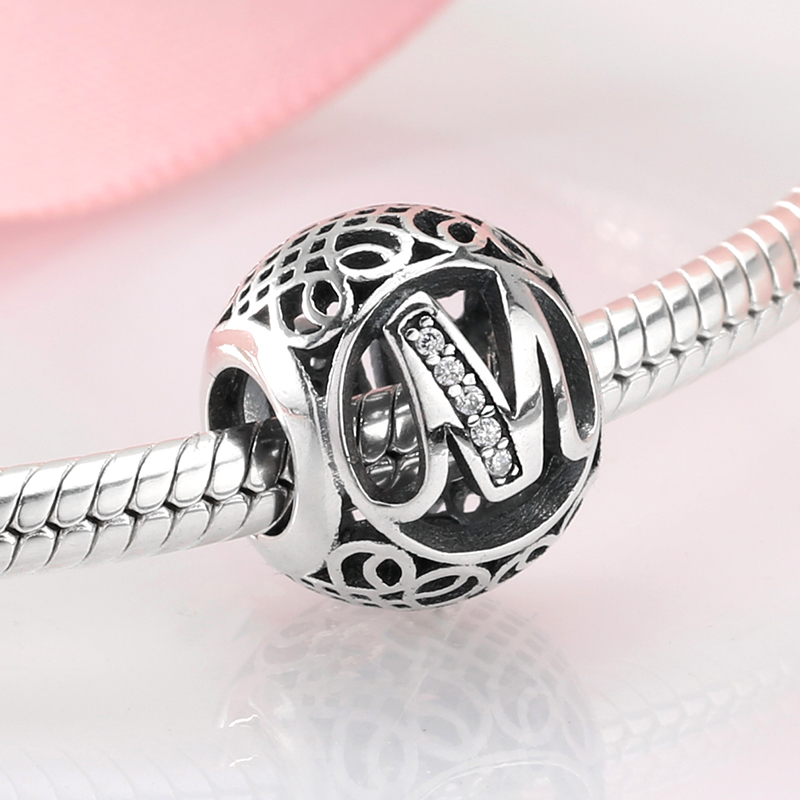 925 Sterling Silver Alphabet Letter M Bead kralen Charm Fit Original Pandora Charms Beads for jewelry making Hot sale 2018 925 sterling silver charm a z letter of the alphabet with crystal pendant beads fit pandora original bracelet diy jewelry making