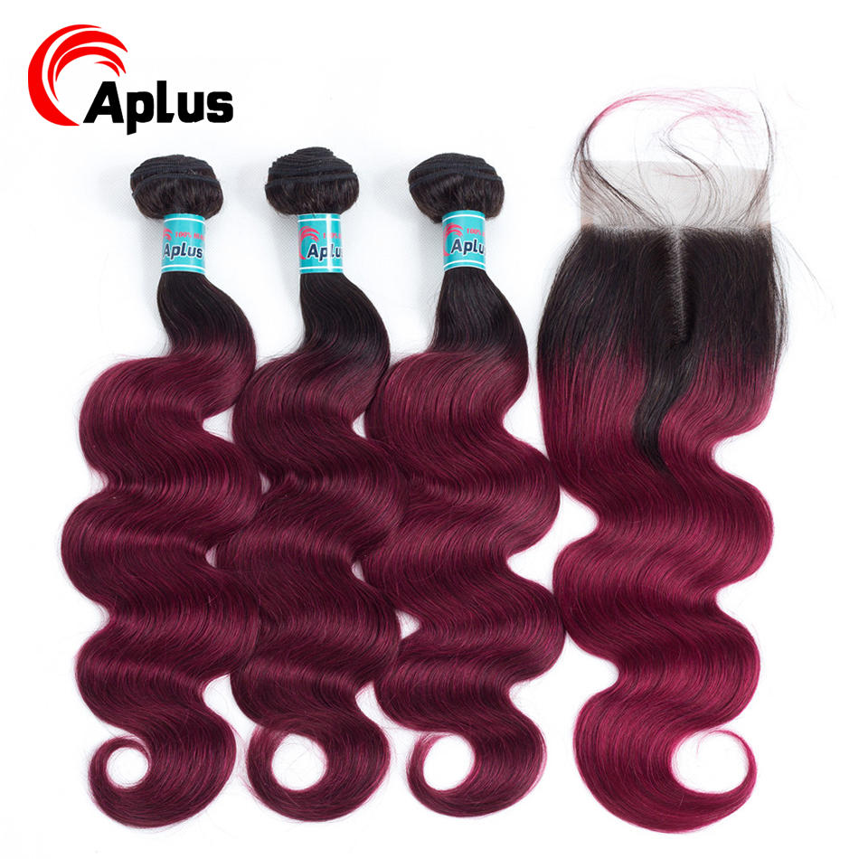 T1b/Burgundy Bundles With Closure Aplus Human Hair Pre-color  Brazilian Body Wave Ombre Hair 3 Bundles With Closure Non Remy