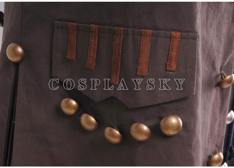 Pirates of the Caribbean Jack Sparrow Cosplay Costume Full Set_04