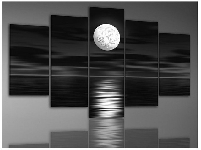 Handmade Modern Oil Paintings On Canvas Wall Art Black White Seascape  Paintings For Living Room Wall