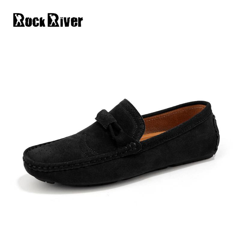 Rock River Brand Men Shoes Autumn Summer Flats Slip On Genuine Leather Men Casual Shoes Suede Leather Soft Moccasins Loafers Men dxkzmcm new men flats cow genuine leather slip on casual shoes men loafers moccasins sapatos men oxfords