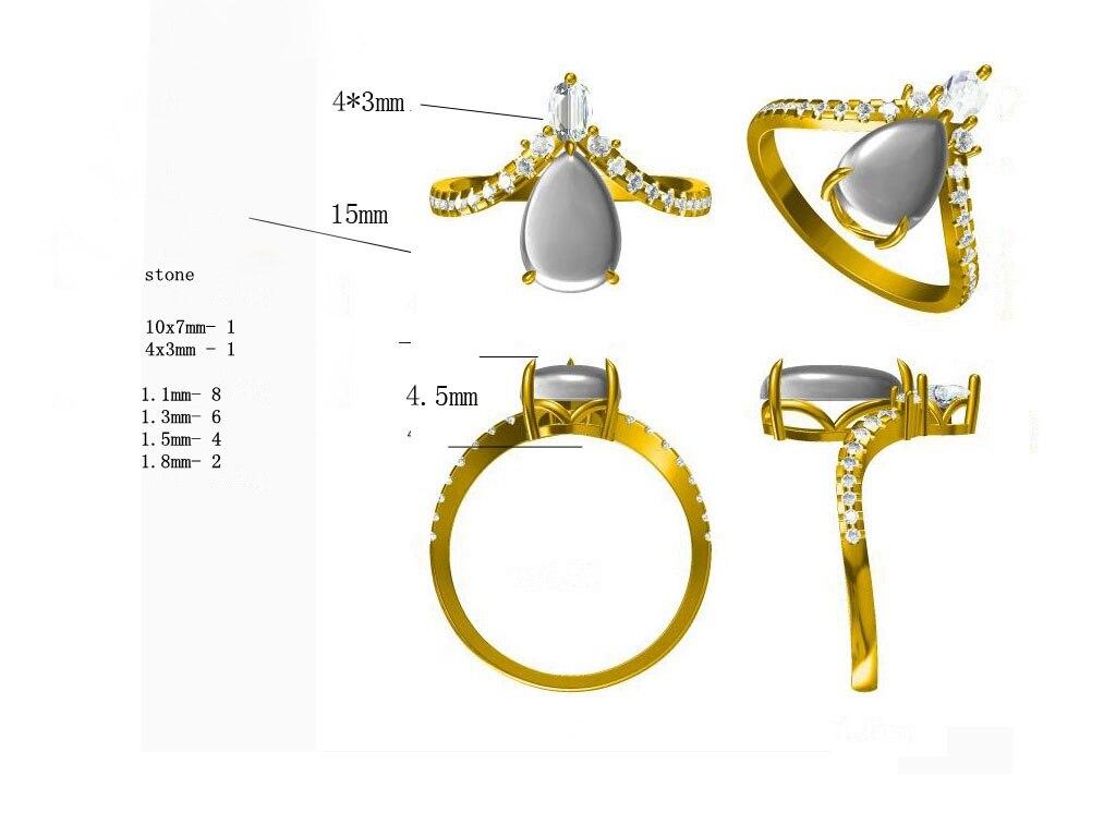 HELON pear Cut 10x7mm Sterling silver 925 100% Genuine AAA Graded Cubic Zircon Art Deco Retro Jewelry semi mount Ring setting
