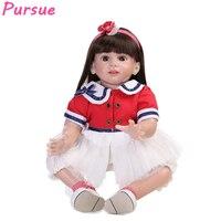 Преследовать Новый 24 дюймов 60 см Reborn Baby Doll Обувь для девочек Игрушечные лошадки силиконовые конечностей хлопок Средства ухода за кожей Bebe р