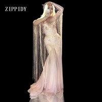Pink Tassel Long Dress Women Stage Dance Fringes Birthday Dress Nightclub Party Female Singer Costume Evening