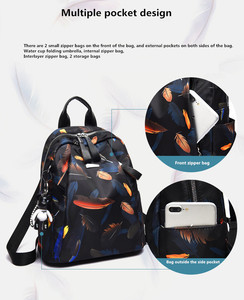 Image 4 - Anti thief Feather Print Backpack Female Oxford Cloth Waterproof Travel Casual Schoolbag  Brand Ladies Large Capacity Backpack
