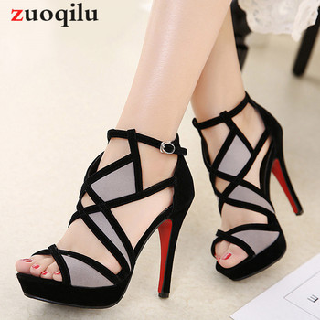 High Heels Cross strap Open Toe Gladiator platform Heels shoes Summer Sandals ladies Shoes Woman Big Size 41 42 dorisfanny open toe thin heel women s sandals 2017 summer gladiator woman shoes sexy high heels sandals us size 3 5 14