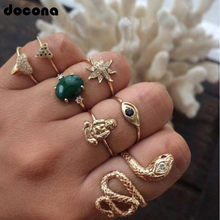 Docona Vintage Punk Gold Color Inlay Green Rhinestone Snake Buddha Ring Set For Women Carving Crystal Flower Portrait Rings 7068(China)