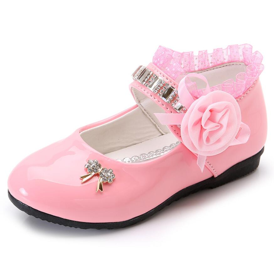 New Flower Girls Shoes Spring Autumn Princess Lace PU Leather Shoes Cute Bowknot Rhinestone Casual Shoes Size 21-37