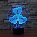 3D illusion Lamp LED Night Light For Valentine 3D I love you  Acrylic Discoloration Colorful Atmosphere Lamp Novelty Lighting