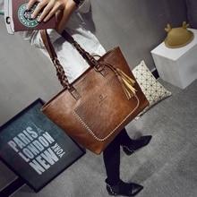 Fashion Women PU Leather Bag Tassel Handbags Women Big Totes Bags Luxury Designer High Quality sac a main Vintage Shoulder Bag