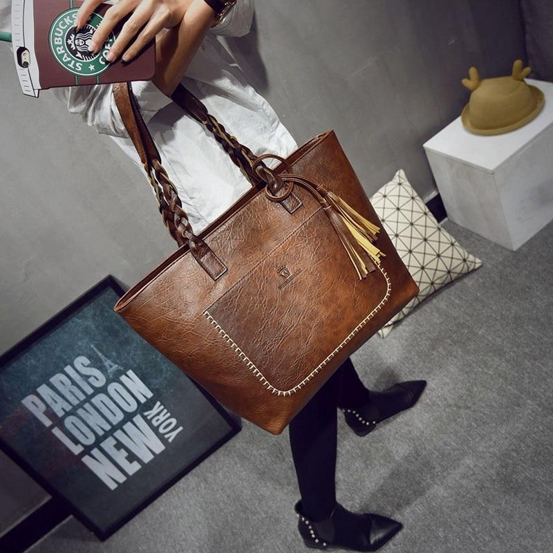 Moda Feminina PU de Couro Bolsas Saco de Borla Mulheres Big Bags Totes sac a principal bolsa de Luxo Designer De Alta Qualidade bolsa de Ombro Do Vintage saco