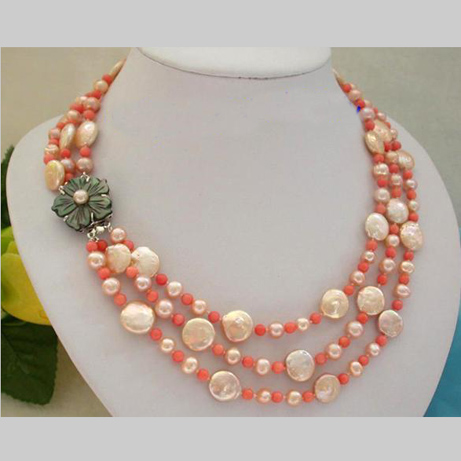 все цены на Stunning Real Pearl Jewellery, 3 Rows 5-12mm Perfect Pink Coral-es Freshwater Pearl Necklace,Fashion Women Birthday Gift Jewelry онлайн