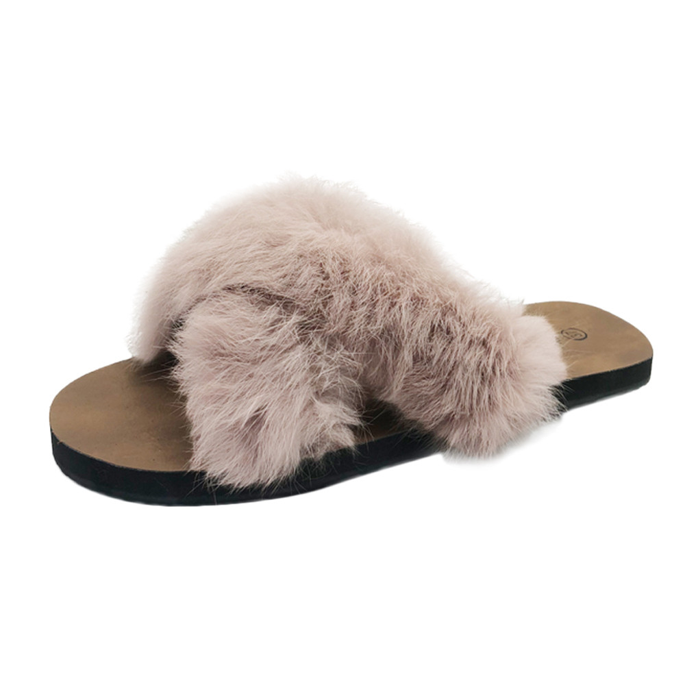 все цены на New Arrival Women's Furry Slippers Faux Fur Slippers Non-slip Fashion Slippers Fluffy Flock Indoor Flat Flip Flops zapatos mujer