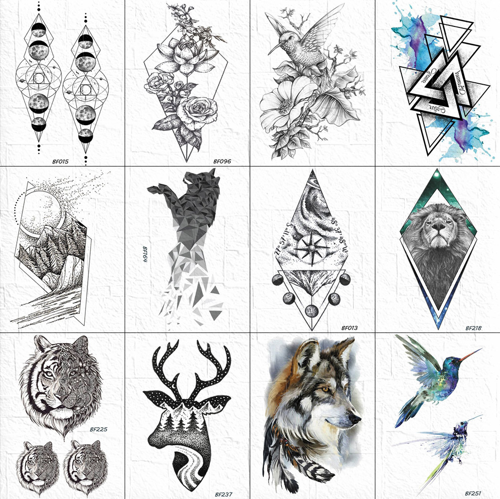 3D Geometric Tattoos Temporary Women Body Arm Chest Fox Tattoos Stickers Diamond Lion Tatoos Waterproof Men Compass Ankle Wolf
