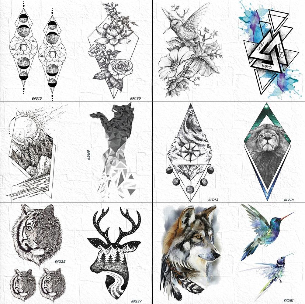 3D Geometric Tattoos Temporary Women Body Arm Chest Fox Tattoos Stickers Diamond Lion Tatoos Waterproof Men Compass Ankle Wolf