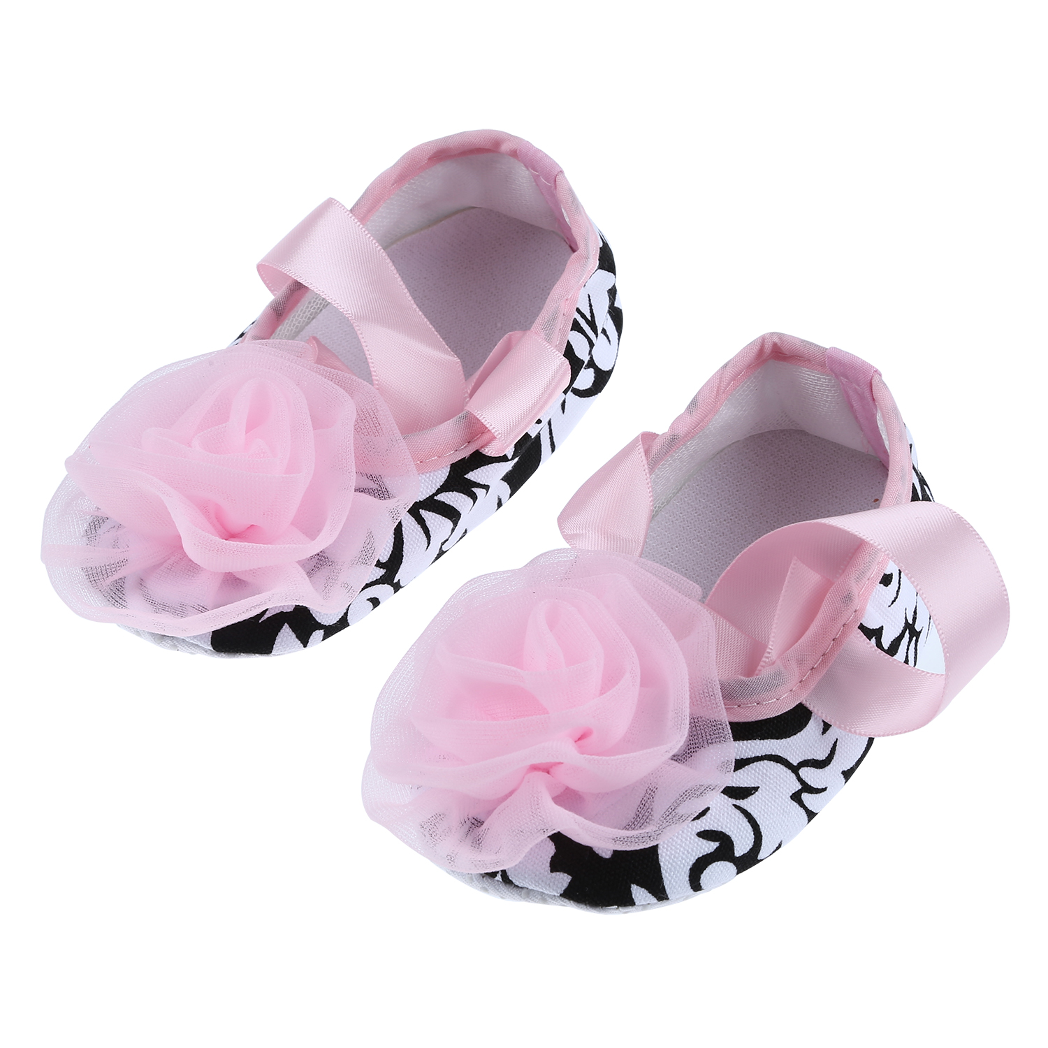 infant baby shoes soft soles non slip pink silk