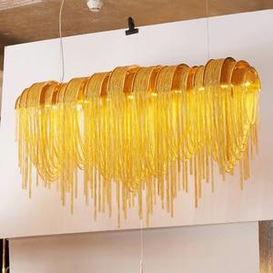 Image 3 - 現代の高級タッセルledシャンデリアシルバーゴールドアルミチェーンG9 シャンデリアランプlamparas光沢新デザインhanglamp