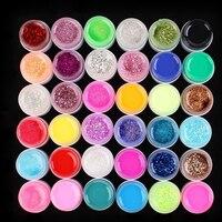 36 Chậu Shiny Bìa Màu Sắc Tinh Khiết UV Gel Nail Art Glitter Mẹo Gel Móng Tay, Móng DIY Set YF2017