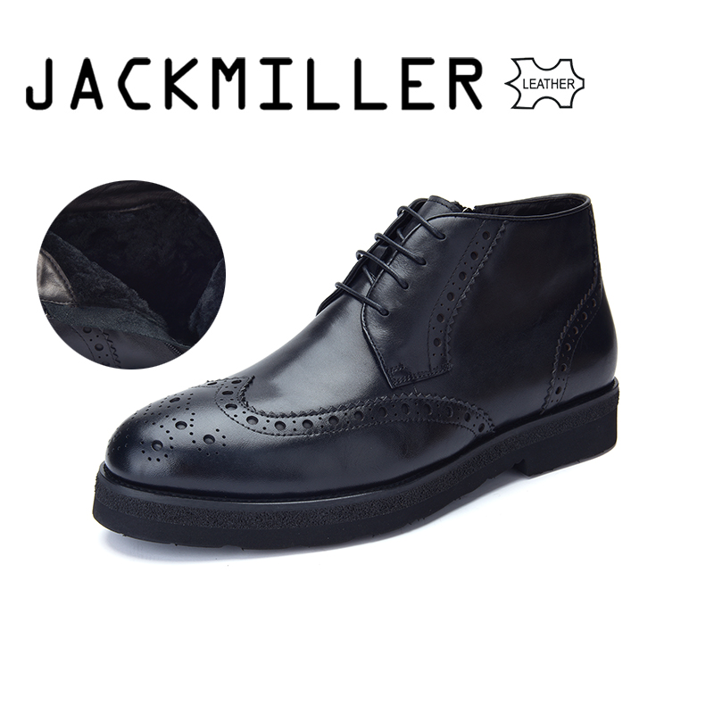Jackmiller Genuine Leather Boots For Men Winter Warm Black Color EVA Thick Outsole Lace-Up Side Zipper Wool Lining Size 40-44