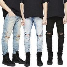 2017 Men Hole Jeans Represent Clothing Designer Pants Black Destroyed Mens Slim Denim Straight Biker Skinny Men Ripped Jeans