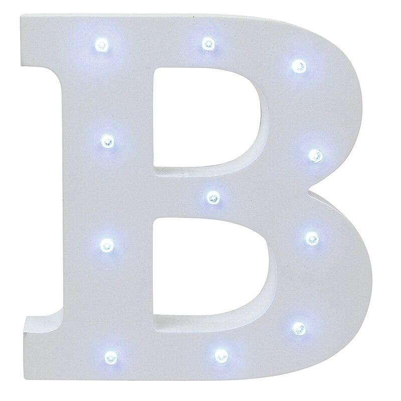 Əlifba Məktubu İşıqları LED İşıq UP Ağ Taxta Məktublar - Gecə işığı - Fotoqrafiya 4