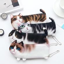 2018 NEW Kawaii Novelty Simulation Cartoon Cat Pencil Case Soft cloth School Stationery Pen Bag Gift for Girl Boy Students