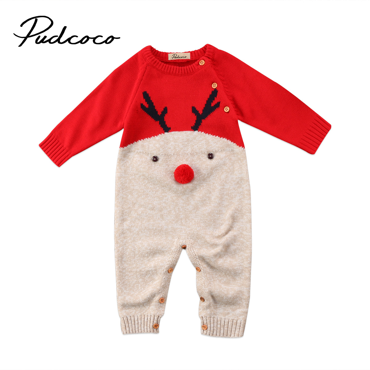 Cute Winter Xmas Baby Knitted Rompers Red Blue Newborn