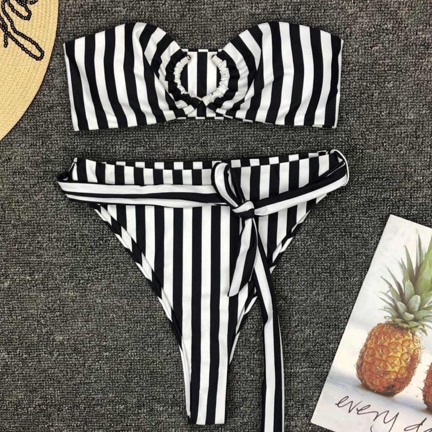 Полосатый бандо высокая Талия бикини 2019 женский трубчатый купальник женский сексуальный бразильский купальник пуш-ап бикини набор купальный костюм