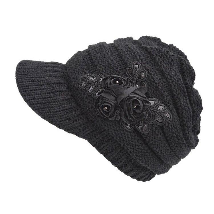 Delle donne Cable Knit Visiera Berretto Cappello Beanie con il Fiore Accent  Lavorato A Maglia Earflap Cap 796cb6e2bb10