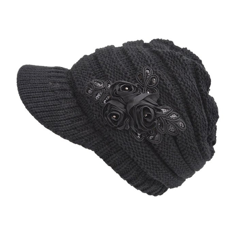 Women s Cable Knit Visor Beanie Hat Beret with Flower Accent Knitted  Earflap Cap 28f00ee5bfb